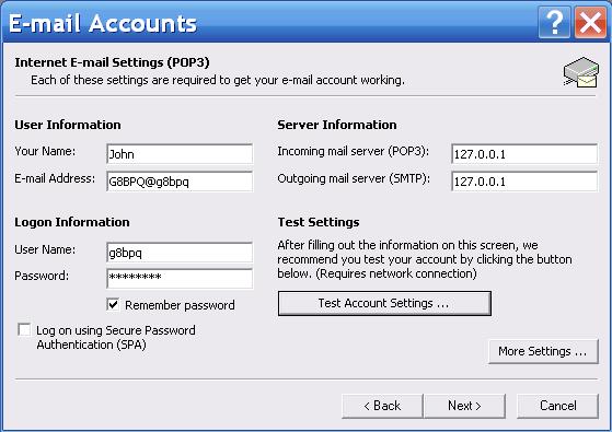 The G8BPQ Mail Server eMail Client Configuration