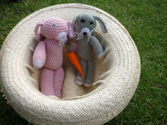 [The rabbits in a hat, with a felt carrot]
